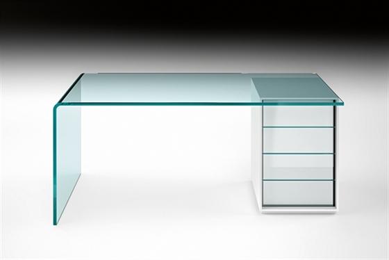 Bureau en verre avec tiroir images for Bureau en verre